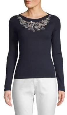 Oscar de la Renta Embellished Cashmere Silk Sweater