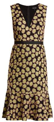 Saloni Tracy Floral Embroidered Dress - Womens - Green Multi