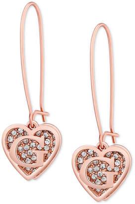 GUESS Rose Gold-Tone Pave Heart Logo Drop Earrings