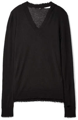 R 13 Misaligned Distressed Cashmere Sweater - Black
