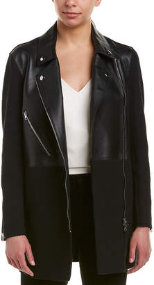 Pinko Adoratore Leather-Paneled Coat