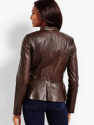 Talbots Leather Peplum Zip Jacket