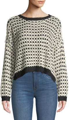 Moon River Textured Open-Work Pullover Sweater