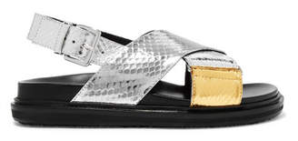 Marni Fussbett Metallic Snake Sandals - Silver