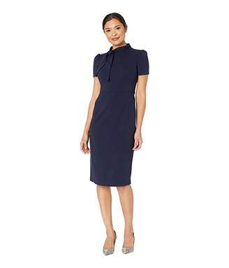 Maggy London Scuba Crepe Short Sleeve Sheath Dress with Neck Tie Detail