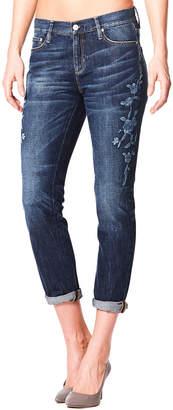 Nicole Miller New York Floral-Embroidered Roll-Cuff Boyfriend Jeans