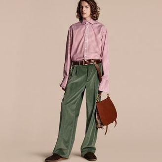 Burberry Wide-leg Salt-washed Velvet Trousers $795 thestylecure.com