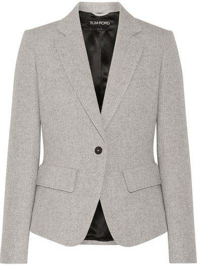 TOM FORD - Leather-trimmed Wool And Mohair-blend Blazer - Gray