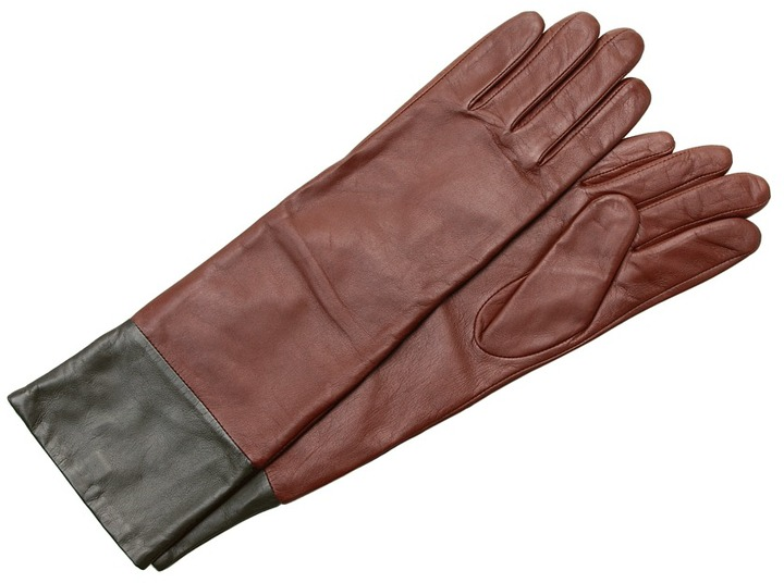 Echo Design - Leather Colorblock Long Glove (Coffee) - Accessories