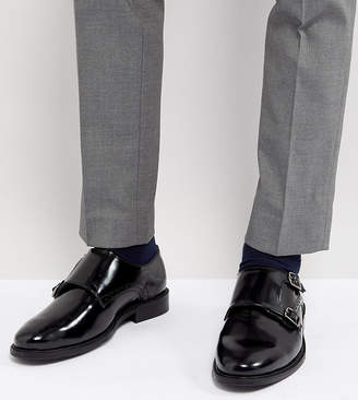 Dune Wide Fit Monk Shoes In Black Leather