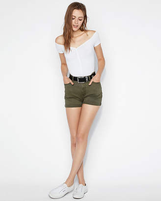 Express High Waisted Vintage Double Roll Twill Midi Shorts