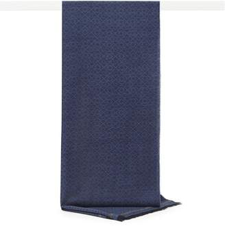 Reiss Glenroth - Tonal Wool Mix Scarf in Navy