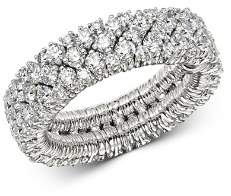 Roberto Demeglio 18K White Gold Cashmere Collection Diamond Stretch Ring