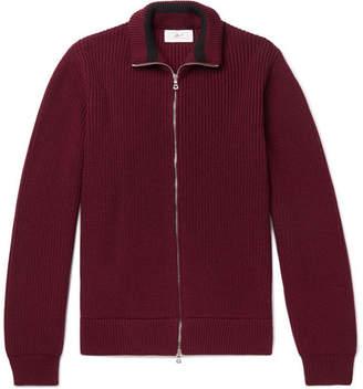 Mr P. - Ribbed Merino Wool Zip-Up Cardigan - Burgundy