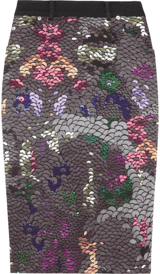 Preen Line Penelope sequin-print stretch cotton-drill pencil skirt