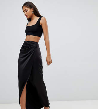 Asos Tall DESIGN Tall satin wrap maxi skirt