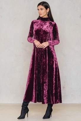 Na Kd Party Velvet High Neck Ankle Dress Dark Purple Rose
