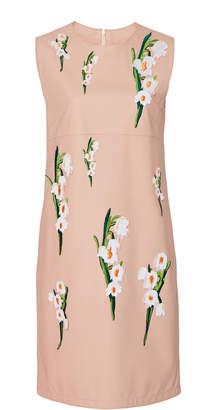 Carolina Herrera Emobroidered Sleeveless Leather Dress Size: 0