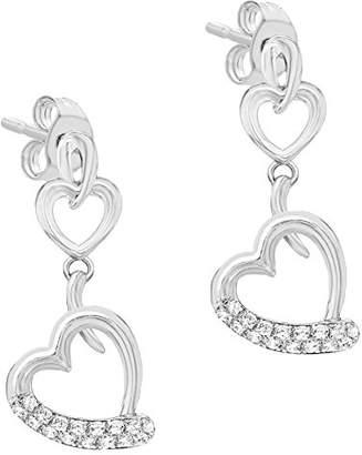 Tuscany Silver Sterling Rhodium Cubic Zirconia Double Heart Drop Earrings