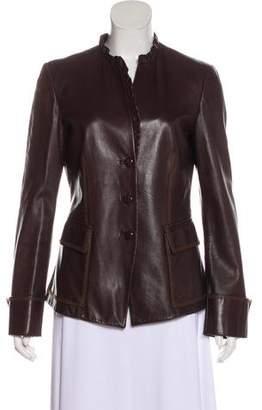 Giorgio Armani Ruffle-Trimmed Leather Jacket