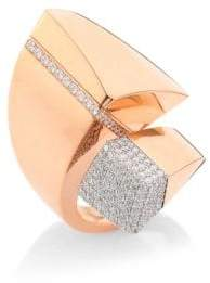 Roberto Coin Sauvage Prive Pave Diamond& 18K Rose Gold Bypass Ring