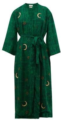 Chufy - Kaf Moon And Star Embroidered Satin Crepe Robe - Womens - Green Print