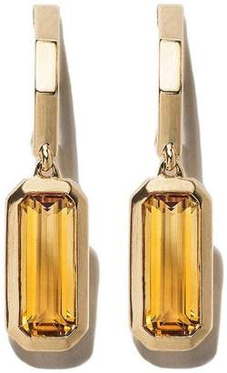 18kt yellow gold Novella hoop drop citrine earrings
