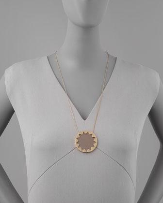 House Of Harlow Sunburst Pendant Necklace, Khaki