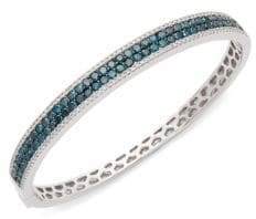 Effy 14K White Gold & Black Diamond Bangle Bracelet