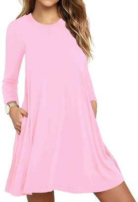 TOPONSKY Women's Plain Long Sleeve Pockets Casual Swing T-Shirt Dresses(XL, Pink)