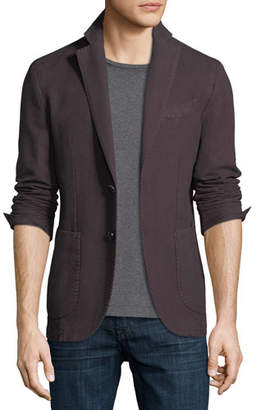 Neiman Marcus Herringbone Two-Button Blazer