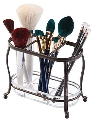 mDesign Decorative Makeup Brush Storage Organizer Tray Stand for Bathroom Vanity Counter Tops