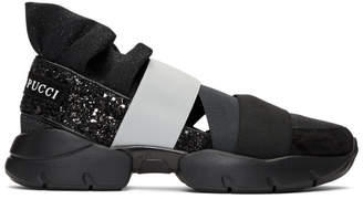 Emilio Pucci Black and Grey Pucci at Night Glitter Ruffle Elastic Slip-On Sneakers