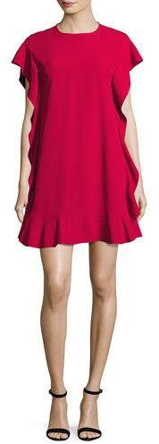 RED ValentinoRED Valentino Flutter-Sleeve Ruffled Swing Dress, Hibisco
