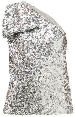 Halpern Sequinned One Shoulder Top - Womens - Silver