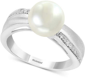 Effy Cultured Freshwater Pearl (8-1/2mm) & Diamond (1/10 ct. t.w.) Ring in Sterling Silver