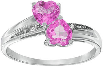 JCPenney FINE JEWELRY Lab-Created Pink Sapphire and Diamond-Accent Sterling Silver Double-Heart Ring