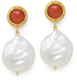 Vintouch Italy Red Coral & Keshi Pearl Earrings