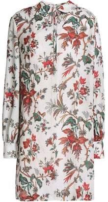 McQ Pintucked Embellished Printed Crepe Mini Dress