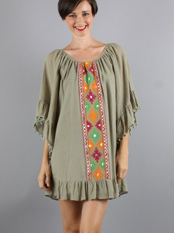 VAVA by Joy Han - Portia Bell Sleeve Dress in Olive