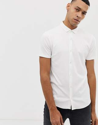 Emporio Armani slim fit short sleeve shirt in white