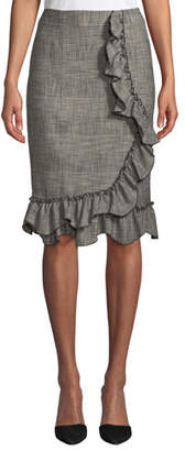 Rebecca Taylor Knee-Length Plaid Skirt with Ruffle Trim