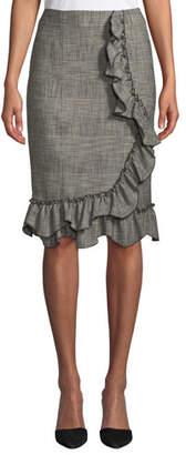 Rebecca Taylor Knee-Length Plaid Skirt with Ruffle Trim