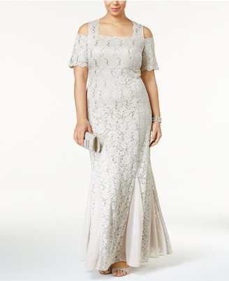 R & M Richards Plus Size Sequined Lace Cold-Shoulder Gown $139 thestylecure.com