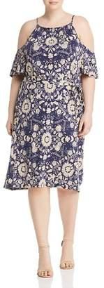 Lucky Brand Plus Cold-Shoulder Floral-Print Dress