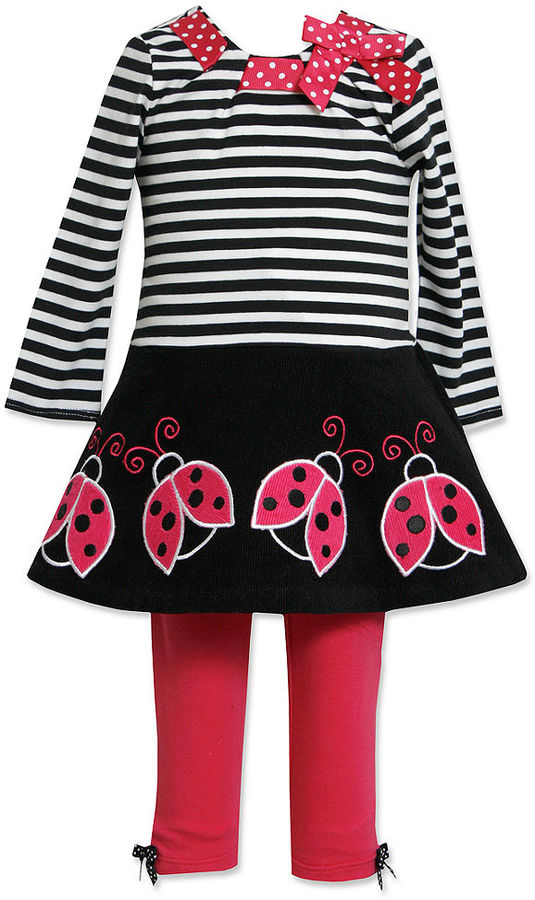 Bonnie Baby Set, Baby Girls 2-Piece Ladybug-Applique Dress and Leggings