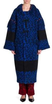 Alanui Animal Print Hooded Wool Coat
