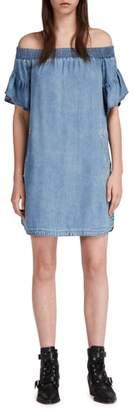 AllSaints Adela Off the Shoulder Chambray Dress