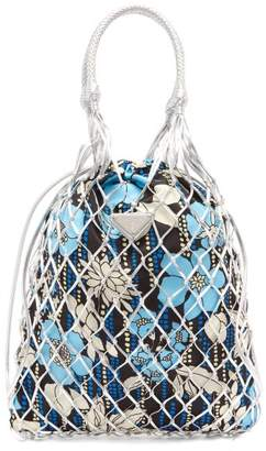 Prada Netted Leather Floral Print Bag - Womens - Silver Multi