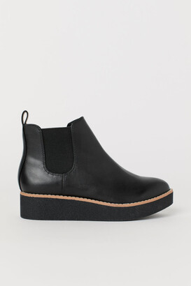 H&M Faux Leather Ankle Boots - Black